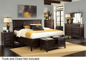 Westlake WSLDM5194 4-Piece Bedroom Set with King Storage Bed, Dresser, Mirror and Single Nightstand in Dark Mahogany Finish