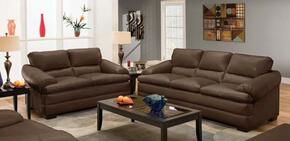 Rosalie Collection 51265SL 2 PC Living Room Set with Sofa + Loveseat in Coach Godiva Color