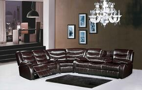 Gramercy Collection 644-BR-S-L-W 3 Piece Living Room Set with Sectional Sofa + Reclining Loveseat and Wedge in Brown