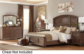 Maeleen Queen Bedroom Set with Panel Bed, Dresser, Mirror and Nightstand in Medium Oak Brown Finish