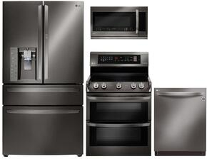 "4 Piece Kitchen Package With LDE4415BD 30"" Electric Freestanding Range, LMV2031BD Over The Range Microwave Oven, LMXS30776D 36""  French Door Refrigerator and LDT9965BD 24"" Built In Dishwasher in Black Stainless Steel"