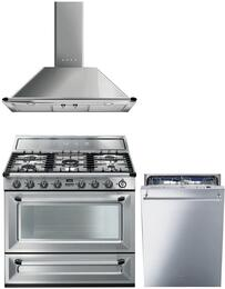 "3-Piece Stainless Steel Kitchen Package with TRU90X 36"" Dual Fuel Range, KT90XU 36"" Wall Mount Chimney Range Hood, and STU8647X 24"" Fully Integrated Dishwasher"