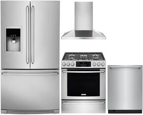 "3-Piece Stainless Steel Kitchen Package with EI30GF45QS 30"" Gas Range, RH30WC60GS 30"" Wall Mount Chimney Hood and EI24ID50QS 24"" Fully Integrated Dishwasher"