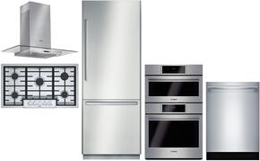 """4-Piece Stainless Steel Outdoor Kitchen Package with B30BB830SS 30"""" Bottom Freezer Refrigerator, NGMP655UC 36"""" Gas Cooktop, HCG56651UC 36"""" Wall Mount Hood, and HSLP751UC 30"""" Double Wall Oven"""