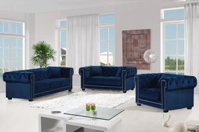 Bowery Collection 739492 3-Piece Living Room Sets with Stationary Sofa, Loveseat and Living Room Chair in Navy