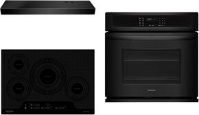 "3-Piece Kitchen Package With FGIC3066TB 30"" Electric Cooktop, FGEW3065PB 30"" Electric Single Wall Oven and FHWC3025MB 30"" Under Cabinet Convertible Hood in Black"