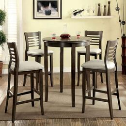Dwight II Collection CM3988GYBT4BC 5-Piece Dining Room Set with Round Bar Table and 4 Bar Side Chairs in Grey