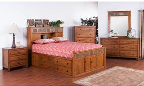 Sedona Collection 2334ROSQBDMN 4-Piece Bedroom Set with Storage Queen Bed, Dresser, Mirror and Nightstand in Rustic Oak Finish