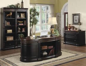 80092124 Package Including Nicolas Traditional Oval Executive Double Pedestal Desk, File Cabinet, and Combination Bookcase in Dark Wood Finish