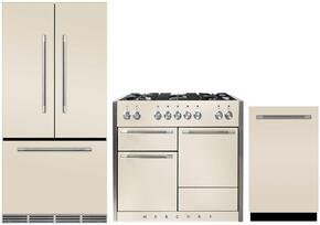 """3-Piece Ivory Kitchen Package with MMCFDR23IVY 36"""" French Door Refrigerator, AMC48DFIVY 48""""  Freestanding Dual Fuel Range, and AMCTTDWIVY 24"""" Fully Integrated Dishwasher"""