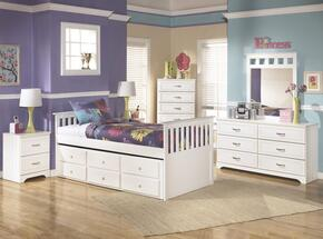 Lulu Twin Bedroom Set with Trundle Bed, Dresser, Mirror, Single Nightstand and Chest in White