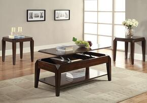 Docila 80660CE 3 PC Living Room Table Set with Coffee Table + 2 End Tables in Walnut Finish