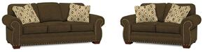 Cambridge Collection 5054Q2424793424682SL 2-Piece Living Room Set with Sofa and Loveseat in Grey with Walnut Finish