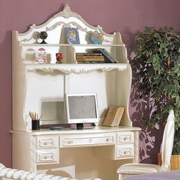 Pearl Collection 01017SET 3 PC Desk Set with Student Desk + Chair + Hutch in Pearl White and Gold Accent Finish