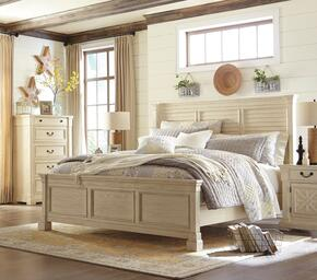 Bolanburg King Bedroom Set with Louvered Panel Bed, and Nightstand in Antique White