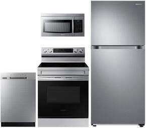 """4-Piece Stainless Steel Kitchen Package with RT18M6215SR 29"""" Top Freezer Refrigerator, NE59M4310SS 30"""" Electric Range, DW80J3020US 24"""" Full Console Dishwasher and ME16K3000AS 30"""" Over-the-Range Microwave"""