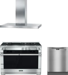 "3-Piece Stainless Steel Kitchen Package with HR1955DFGR 48"" Freestanding Dual Fuel Range, DA424V6 48"" Mount Ducted Hood, and G6105SCUCLST 24"" Full Console Dishwasher"