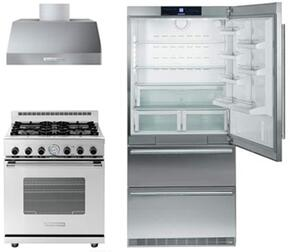 "3 Piece Kitchen Package With CS2060 36"" Bottom Freezer Refrigerator, RN301GCSS 30"" Gas Freestanding Range and HP301BSS 30"" Range Hood in Stainless Steel"