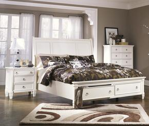 Hanson Collection King Bedroom Set with Storage Bed and Nightstand in White