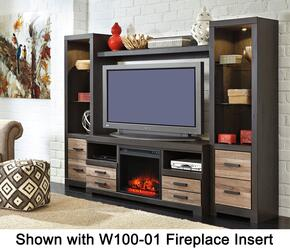 "Harlinton W3252PSBF02 Entertainment Center with 63"" Wide Large TV Stand, Two 72.17"" Tall Piere Cabinets, Bridge and W100-02 Fireplace Insert in Warm Grey Finish"