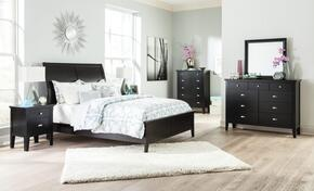 Braflin Queen Bedroom Set with Panel Bed, Mirror, Dresser, Single Night Stand and Chest in Black Finish