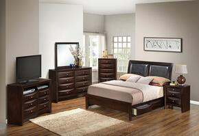 G1525DDFSB2DMNCHTV2 6 Piece Set including  Full Size Bed, Dresser, Mirror, Nightstand, Chest and Media in Cappuccino