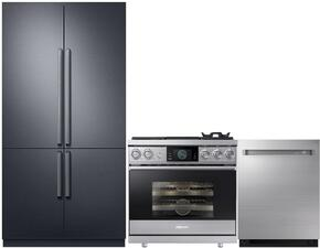 "3-Piece Stainless Steel Kitchen Package with DRF427500AP 42"" French Door Refrigerator, RNRP48GSNGH 48"" Freestanding Gas Range, and DDW24M999US 24"" Fully Integrated Dishwasher"