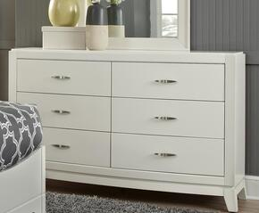 Avalon II Collection 205-YBR-DM Dresser and Mirror with 6 Drawers, Bow Front Cases, Fully Stained Interior Drawer and Satin Nickel Hardware in White Truffle Finish