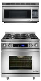 "2-Piece Stainless Steel Kitchen Package with DR30DNG 30"" Freestanding Dual Fuel Range with Natural Gas and PCOR30S 30"" Over-the-Range Convection Microwave"