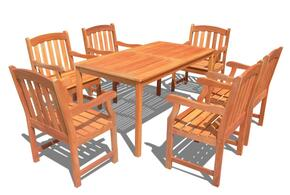 V98SET29 Outdoor Wood Balthazar Rectangular Table and 6 V211 Outdoor Wood Ward Series Armchairs