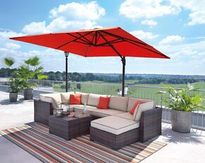 Renway Collection P450-077-846-877-P017-990 8-Piece Outdoor Patio Sectional Sofa Set with 3 Corner Chairs, 2 Armless Chairs, 1 Ottoman, 1 Cocktail Table and Large Coral Colored Umbrella