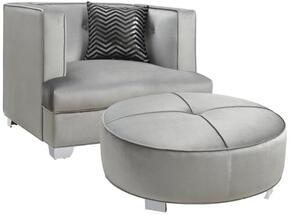 Caldwell 505883CO 2 PC Living Room Set with Armchair + Ottoman in Silver Color