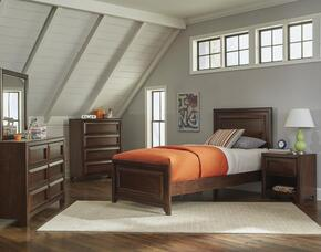 Greenough 400821T Twin Panel Bed, Night Stand, Dresser and Mirror in Maple Oak Finish
