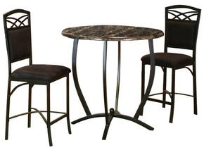 Sierra Collection CR-72130-3PC 3 PC Pub Table Set with Round Counter Height Dining Table + 2 Bar Stools