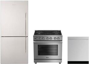 "3-Piece Kitchen Package with BRFB1812SSLN 30"" Counter Depth Bottom Freezer Refrigerator, BDFP34550SS 30"" Freestanding Dual Fuel Range, and a free DW55502SS 24"" Built In Fully Integrated Dishwasher in Stainless Steel"