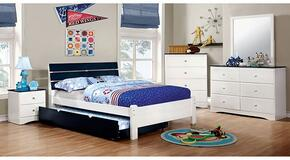 Kimmel Collection CM7626BLFBDMCN 5-Piece Bedroom Set with Full Bed, Dresser, Mirror, Chest, and Nightstand in White and Blue Finish