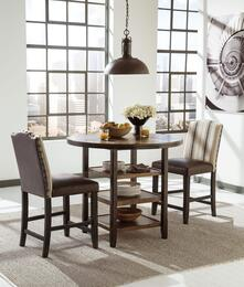 Moriann D608-13-324 3-Piece Dining Room Set with Round Counter Dining Table and Two 24