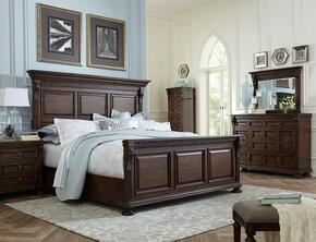 Lyla 4912QPBNLCDM 5-Piece Bedroom Set with Queen Panel Bed, 3-Drawer Nightstand, Lingerie Chest, Door Dresser and 44