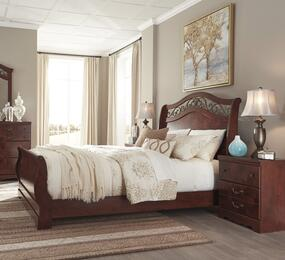 Delianna Queen Bedroom Set with Sleigh Bed and Single Nightstand in Reddish Brown