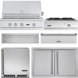 "6-Piece Stainless Steel Kitchen Package with VGIQ542241LSS 42"" Liquid Propane Grill, Outdoor Refrigerator, Side Burner, Warming Drawer, Storage Drawer, Single Access Door, and Storage Drawer"