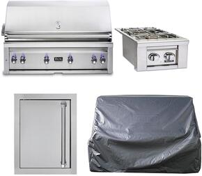 "4-Stainless Steel Outdoor Kitchen Package with VQGI5540LSS 54"" Built-In Liquid Propane Grill, VQGSB5130LSS 13"" Side Burner, VOADS5240SS 24"" Access Door, and CV154BI 54"" Grill Covers"