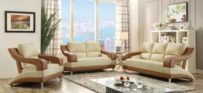 G250SET 3 PC Living Room Set with Sofa + Loveseat + Armchair in Beige and Light Brown Color