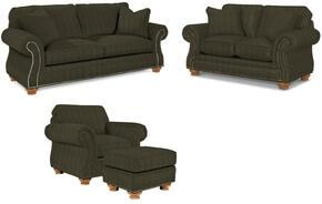 Laramie 5081SLCO/2718-27 4-Piece Living Room Set with Sofa, Loveseat, Chair and Ottoman in 2718-27 Green
