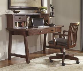 Wassner H584440148 3 PC Home Office Large Leg Desk + Office Chair + Desk Hutch in Dark Brown Finish
