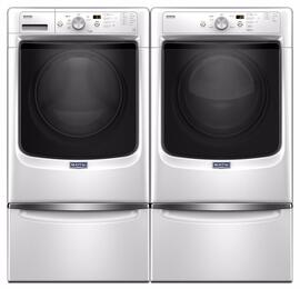"White Front Load Laundry Pair with MHW3505FW 27"" Washer, MED3500FW  27"" Electric Dryer and 2 XHPC155XW Pedestals"