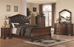 Maddison 202261QDMNC 5-Piece Bedroom Set with Queen Sleigh Bed, Dresser, Mirror, Nightstand and Chest in Cappuccino Finish