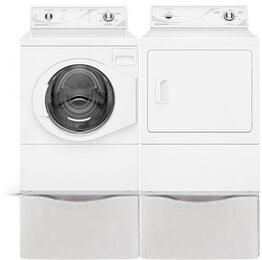 "White Front Load Laundry Pair with AFN50RSP 27"" Front Load Washer, ADG3SRGS 27"" Gas Dryer and 2 PDR108W Pedestals"