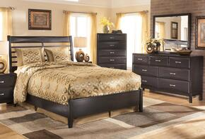 Kira 3-Piece Bedroom Set with Queen Size Panel Bed, Dresser and Mirror in Black