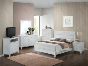 Aries Collection G2490ATBSET 6 PC Bedroom Set with Twin Size Panel Bed + Dresser + Mirror + Chest + Nightstand + Media Chest in White Finish