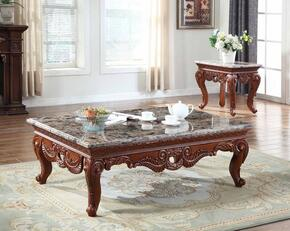 Bordeaux 205CE 2 PC Living Room Table Set with Coffee Table + End Table in Brown Finish